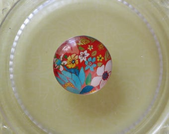 red blue flower glass cabochon