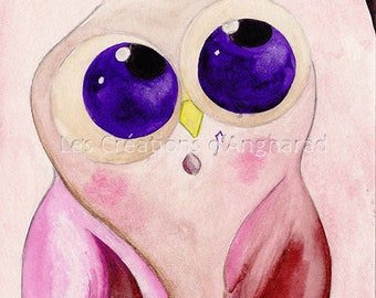 Humorous watercolor owls series: A table!