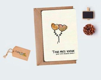 Christmas card / heart letterpress greeting card