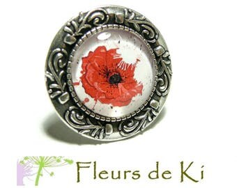 Designer jewelry: large poppy ANTIQUE silver ring