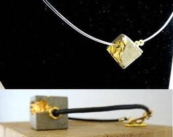 "Set Bracelet-earrings, contemporary jewel ""Cubic pearls..."""