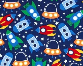 Blue space Miller retro rocket patchwork fabric