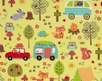 Patchwork fabric animals camping out camp Miller yellow