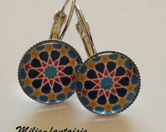 Lever back earrings Silver Blue rose glass cabochon