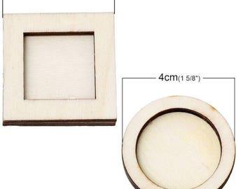 CADRE BOIS LOT:1cadre carré et 1cadre rond en bois  4cm environ  Lot de 2 piéces