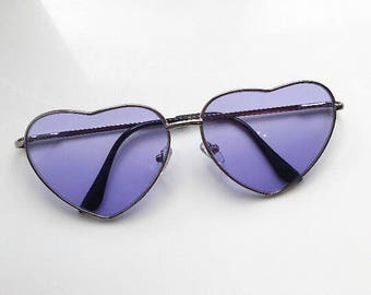 Purple Love Heart Sunglasses