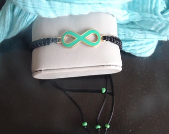 Bracelet with Infinity charm, green, for teens and adults