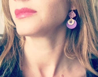 Purple Leather earrings / yellow patterns, glitter purple / light earrings with hypoallergenic and anti oxidant clip