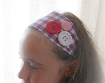 PURPLE PLASTIC BUTTONS WITH GINGHAM HEADBAND
