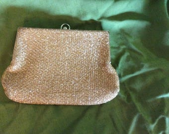 Vintage 60's Gold Lame Evening Bag Purse Stretch Fabric