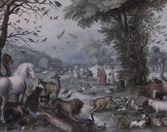 Noah's Ark and animals oil painting-digital download