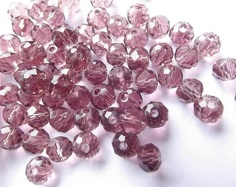New! 95 purple faceted Crystal rondelle 4 x 6 mm Marshall-520