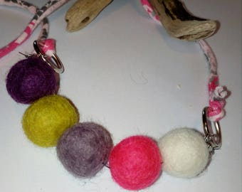 long necklace mi lime green pink felt