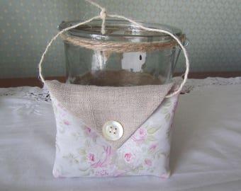 Lavender floral cotton and linen cushion