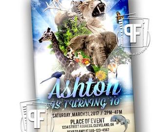 Zoo Birthday Invitations - Zoo Birthday Party - Wildlife Birthday Invitation - Jungle Birthday Invitation - Zoo Birthday
