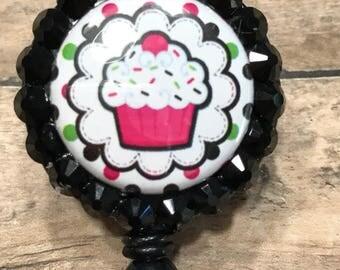Cupcake retractable badge reel, badge clip, ID card holder, badge holder