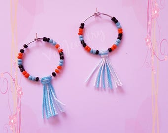 hoop earrings with seed beads