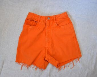LA Gear ORANGE Vintage High Waist Cutoff Denim Shorts Waist 26""