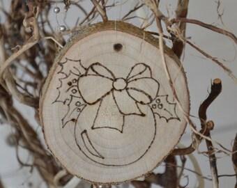 Woodburned hanging Christmas decoration