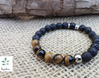 Tiger eye bracelet, volcanic Lava, Onyx and steel.