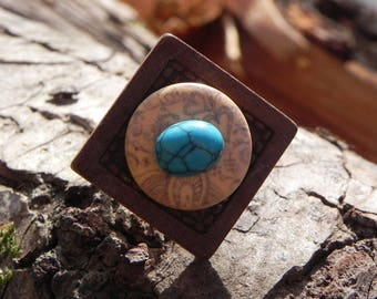 Adjustable ring: small turquoise