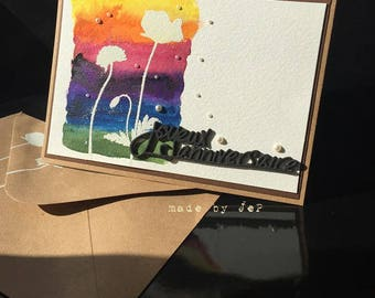 "card ""happy birthday"" silhouettes of flowers on a watercolor background"