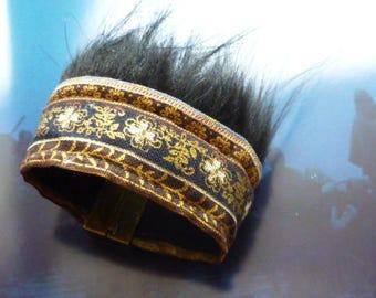 Black furry cuff ethnic