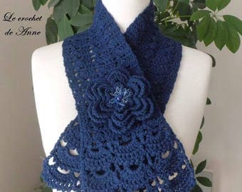 Navy Blue, adorned with a flower scarf brooch!