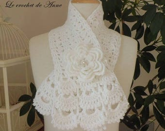 White, adorned with a flower scarf brooch!