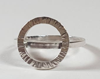 Handcrafted sterling silver hammered circles ring