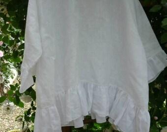 white linen tunic model Agathe