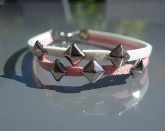 Pink suede bracelet