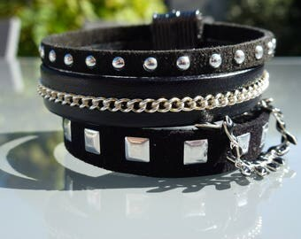 suede and leather Cuff Bracelet
