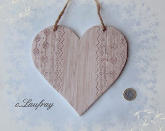 Large heart lace hanging, shabby chic style, footprints broderie anglaise