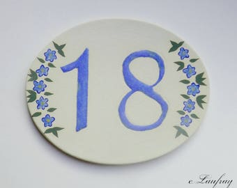 Door plate, stoneware, number 18, oval, Blue Flax flowers will withstand Frost