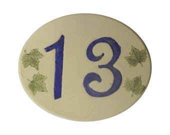 Door number, original oval shape, number 13 deco Ivy leaves