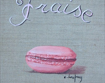 Painting on linen macaroon Strawberry