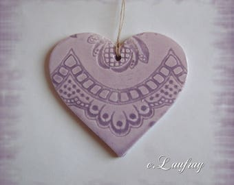 (Size L) hanging, ceramic heart embroidery print, pastel purple romantic