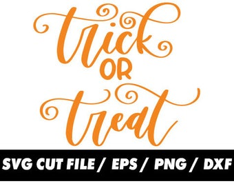 Trick or treat SVG Cut Files, Fall Designs, Halloween svg, Cricut, Silhouette Studio, Digital Cut Files Thanksgiving dxf, eps, png