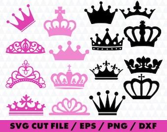 16 Crown svg files, Monogram clipart, Monogram svg, Queen clipart, monogram frame silhouette svg eps png dxf Cut Print Mug Shirt Decal