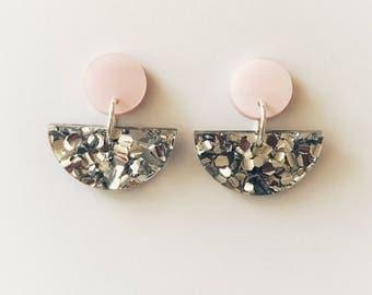 Pastel Pink and Silver Lux Glitter Fan Earrings