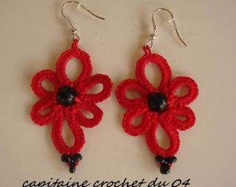 Red earrings tatting lace contemporary handmade tatted jewelry