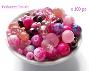 Assortment of 100 glass beads and various shades of pink and purple 4-11mm resin