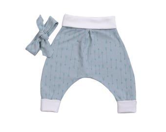 Harem pants and jersey cotton baby/toddler headband
