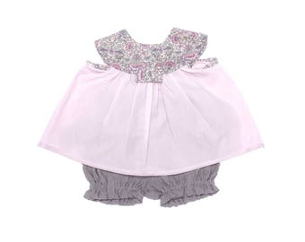 Set baby girl blouse and bloomer Liberty and linen chic ceremony was wedding