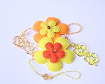 Flower Orange and yellow 6 cm