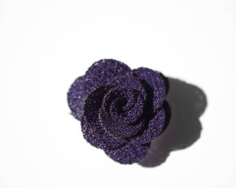 Snap Chunk 18 mm dark purple fabric flower