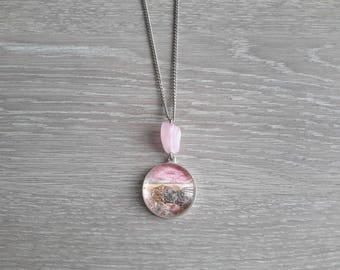 handmade cabochon necklace Medallion painting