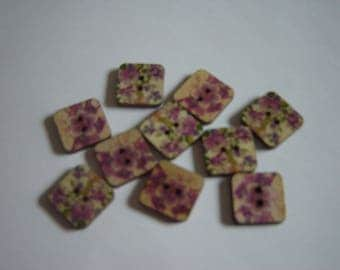 10 BUTTONS WOOD FLOWER SHAPED SQUARES / / 15 MM / / SET OF 6