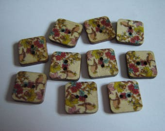 10 BUTTONS WOOD FLOWER SHAPED SQUARES / / 15 MM / / SET 13